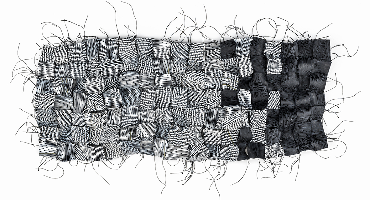 illustration of Marking Time leather artwork installation at Collect Open at Crafts Council Collect at Saatchi Gallery February 2019