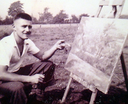 old photograph of my father Enos Lovatt at Mow Cop in 1960s painting the landscape by his artist studio en plein air