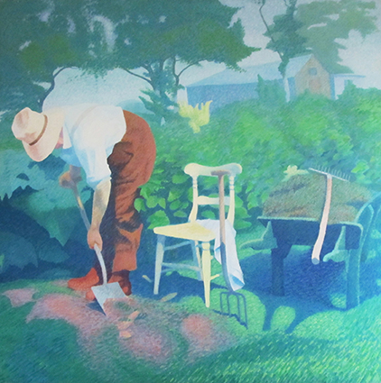 Portrait of my grandfather Enos Lovatt Senior at work in his garden at the White House Mow Cop by my father Enos Lovatt in 1960s